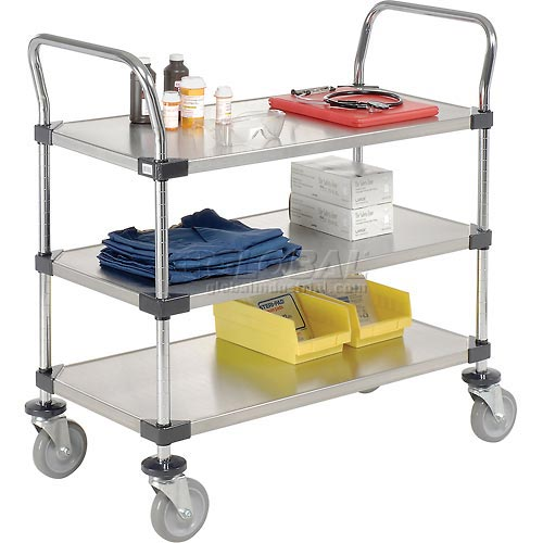 Nexel Stainless Steel Utility Cart 3 Shelves 48x24 by