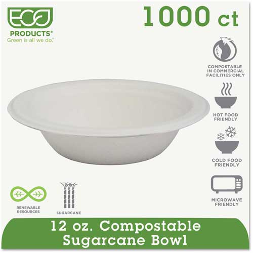 Click here to buy Eco-Products Compostable Sugarcane Dinnerware, 12 oz. Bowl, White, 1000/Carton.