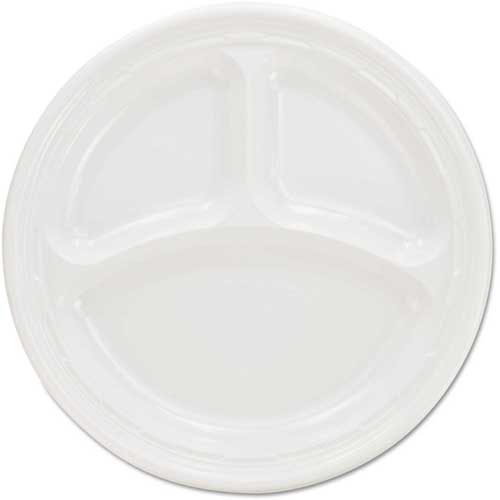 Plastic Plates, 9 Inches, White, 3 Compartments, Round, 500 ct by
