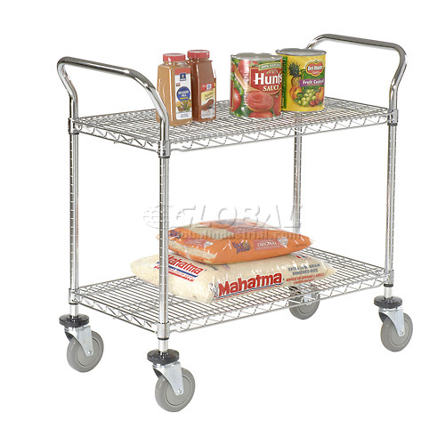 Nexel Wire Utility Cart 36 x 18 2 Shelves 800 Lb. Capacity by
