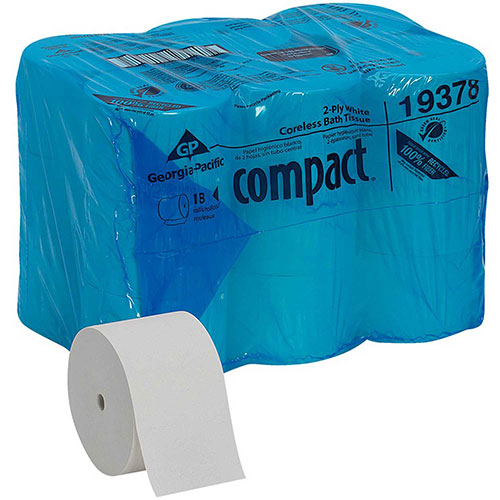 GP Compact White Coreless High Capacity 2-Ply Toilet Paper, 1500 Sheet/Roll, 18 Rolls/Case... by