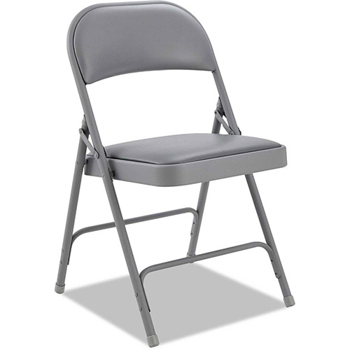 Alera Steel Folding Chair With Padded Back and Seat Light Gray 4 Pack by