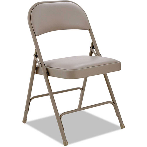 Alera Steel Folding Chair With Padded Back and Seat Tan 4 Pack by