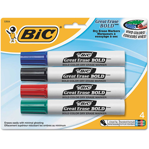 Bic Great Erase Bold Dry Erase Markers, Chisel Tip, Assorted, 4/Pack by