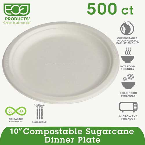 "Click here to buy Eco-Products Compostable Sugarcane Dinnerware, 10"" Plate, Natural White, 500/Carton."