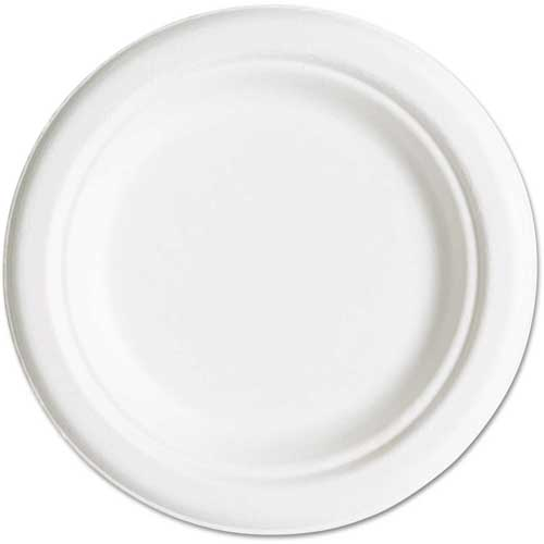 "Click here to buy Eco-Products Compostable Sugarcane Dinnerware, 6"" Plate, Natural White, 1000/Carton."