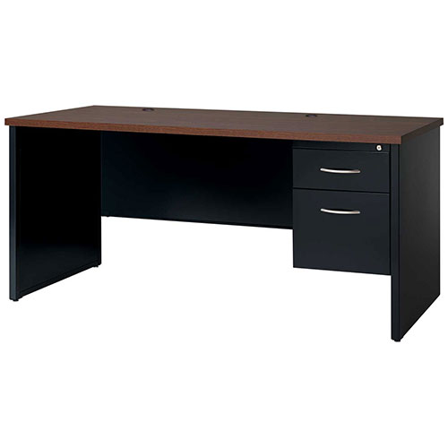 Hirsh Industries Modular Steel Credenza Single Right Pedestal 72 x 24 Black/Walnut by