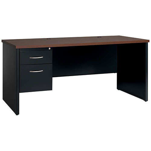Hirsh Industries Modular Steel Credenza Single Left Pedestal 72 x 24 Black/Walnut by