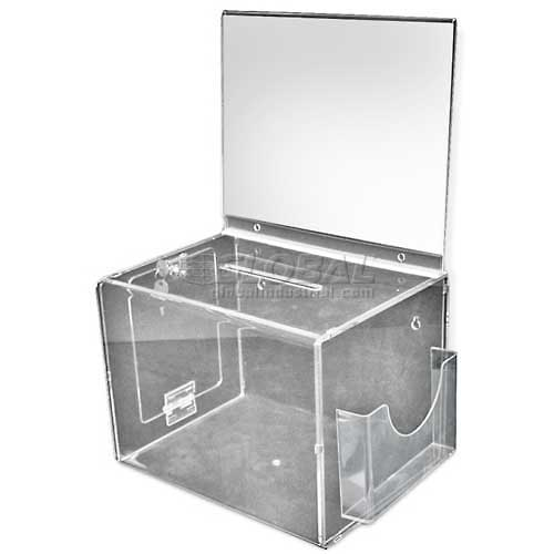 "Azar Displays 206300 Extra Large Acrylic Suggestion Box W/ Pocket, Lock & Keys, 11"" x 8.25"", Acrylic by"