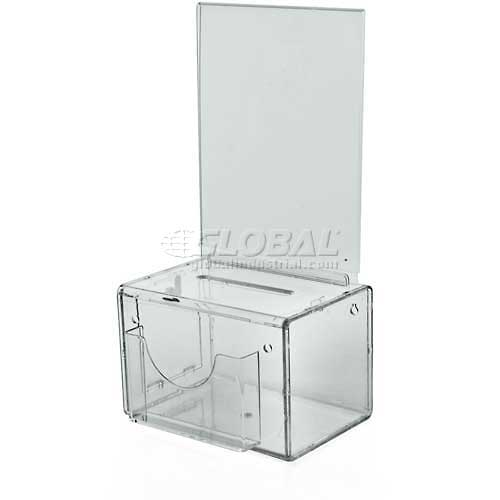 "Azar Displays 206388 Small Suggestion Box W/ Pocket, Lock & Keys, Clear, 5.5"" x 3.5"" ,1 Piece by"