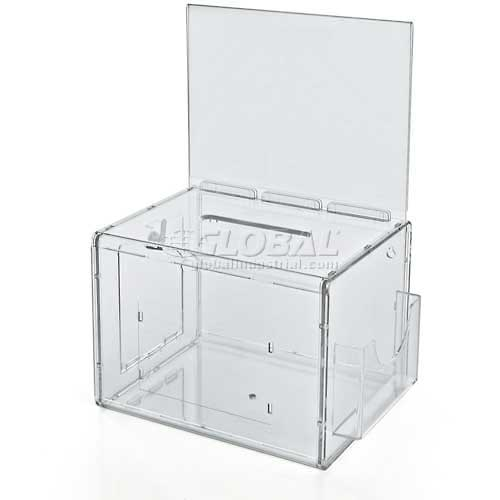 "Azar Displays 206389 Large Suggestion Box W/ Pocket, Lock & Keys, Clear, 7.75"" x 6"" ,1 Piece by"