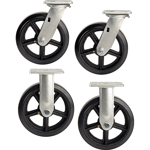 "8"" x 2"" Mold-On Rubber Caster Kit 2 Swivel, 2 Rigid by"