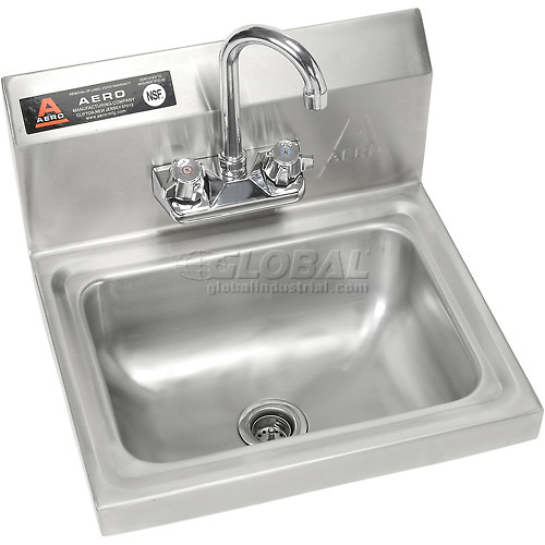 "Aero Wall Mount Stainless Steel Hand Sink 14""Lx10""Wx5""D Basin w/7""... by"