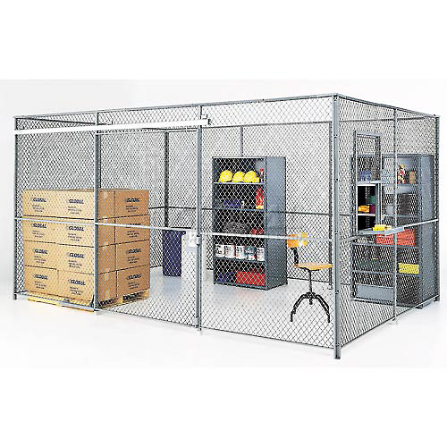 Wire Mesh Partition Security Room 30x20x10 with Roof 4 Sides w/ Window by