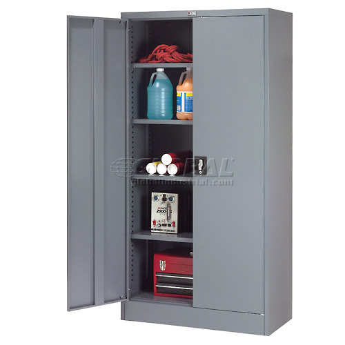 """Click here to buy Global Steel Storage Cabinet Recessed Handle 36""""W x 18""""D x 72""""H Gray Easy Assembly."""