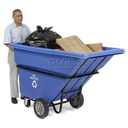 Deluxe Blue Extra HD Plastic Recycling Tilt Truck 1 Cu. Yd. & 2100 Lb. Cap. by