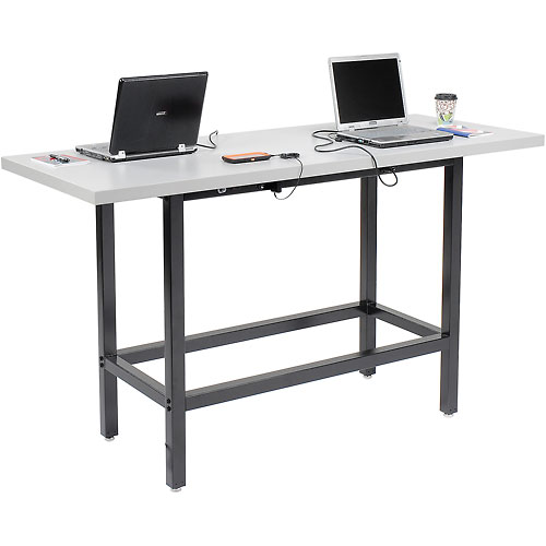 "Standing Height 72""W x 30""D Cafe Charging Table w/ Laminate Edge & Two 115v Duplex Outlets Black by"