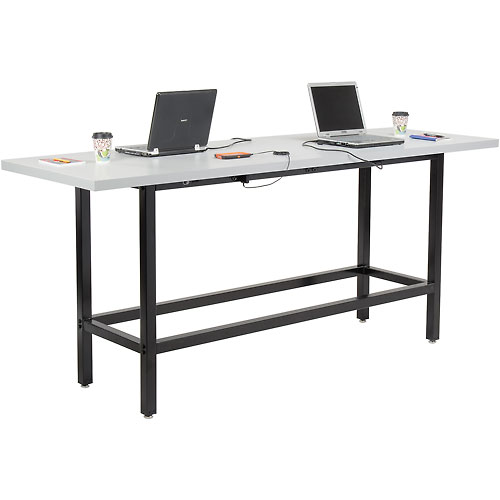 "Standing Height 96""W x 30""D Cafe Charging Table w/ Laminate Edge & Three 115v Duplex Outlets Black by"
