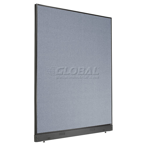 """Interion Office Cubicle Partition Panel with Pass-Thru Cable, 60-1/4""""W x 76""""H, Blue by"""