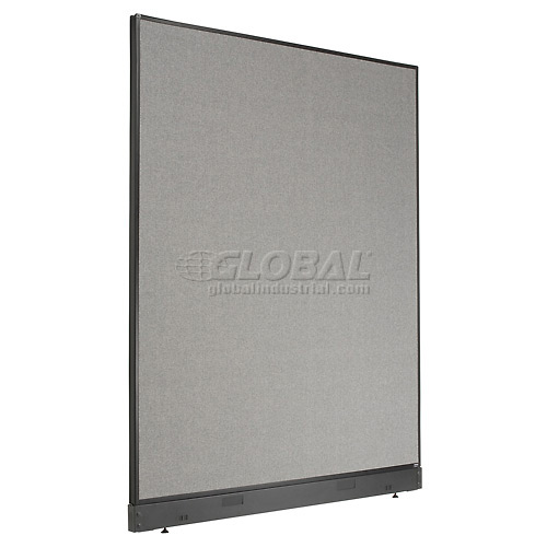 """Interion Office Cubicle Partition Panel with Pass-Thru Cable, 60-1/4""""W x 76""""H, Gray by"""