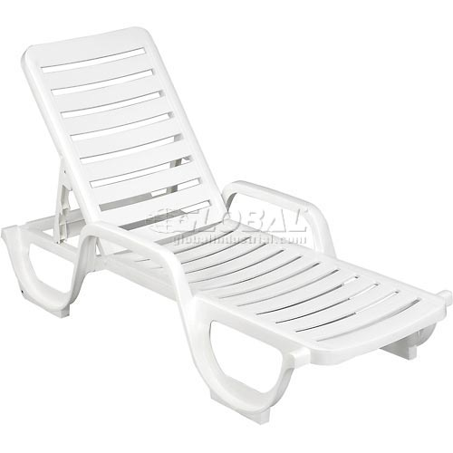 Grosfillex Adjustable Resin Chaise White Package Count 6 by