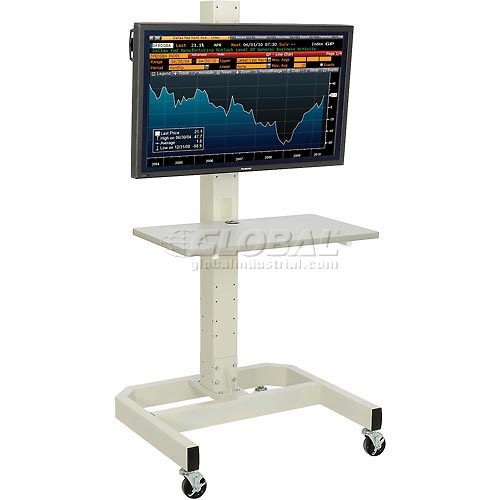 LCD/Plasma Cart with Power Outlet Beige by