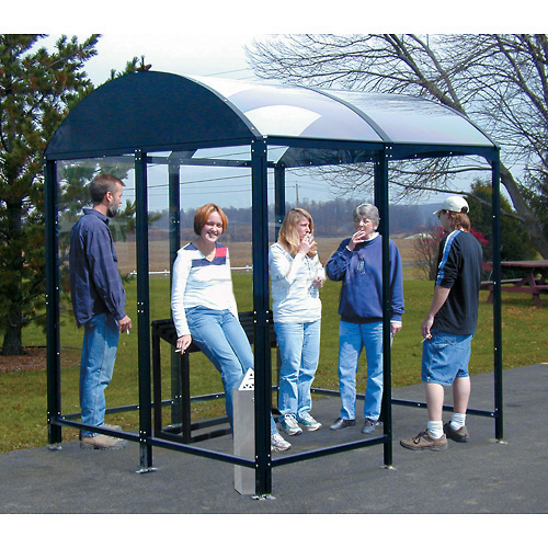 """No Butts 4 Sided Smoking Shelter NBS0408FS Freestanding 3'6""""W x 7'D x 8'2""""H Black by"""