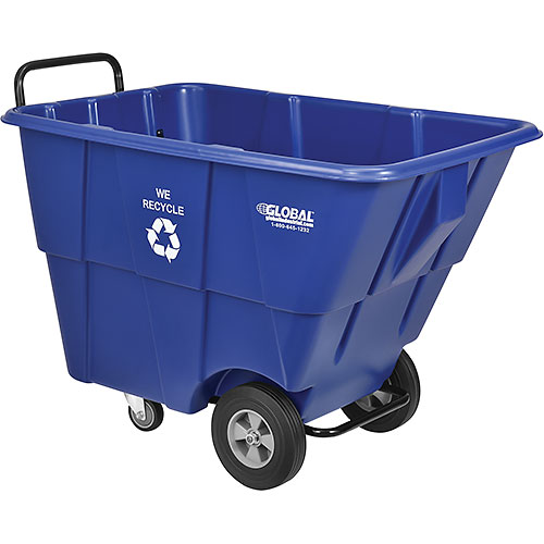 Deluxe Blue Plastic Recycling Tilt Truck 1/2 Cubic Yard Capacity 750 Lb. Cap. by