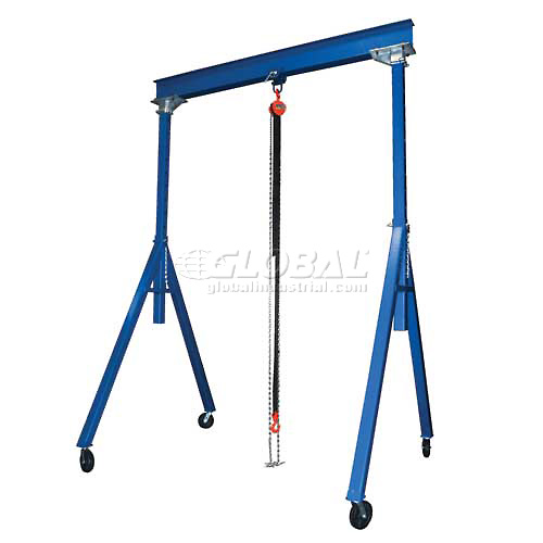 Vestil Steel Gantry Crane AHS-2-10-12 Adjustable Height 2000 Lb. Capacity by