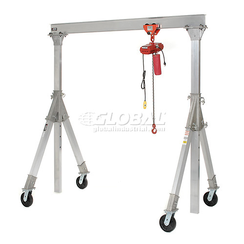 Vestil Aluminum Gantry Crane AHA-2-10-10 Adjustable Height 2000 Lb. Capacity by