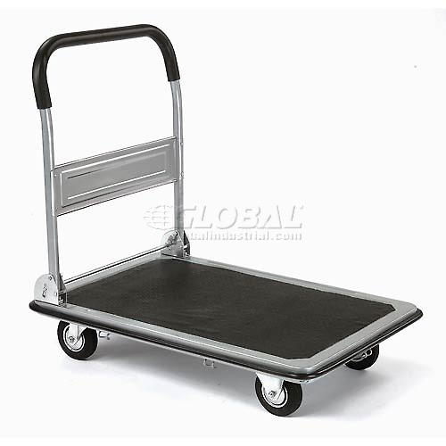 Click here to buy Folding Platform Truck with 28 x 18 Solid Steel Deck 400 Lb. Capacity.