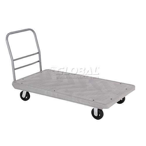 Structural Foam 60 x 30 Plastic Deck Platform Truck with 4 Wheels 2000 Lb. Capacity by