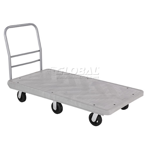 Structural Foam 60 x 30 Plastic Deck Platform Truck with 6 Wheels 2500 Lb. Capacity by