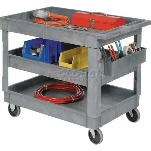 """Best Value Plastic 3 Shelf Tray Service & Utility Cart 5"""" Rubber Casters by"""