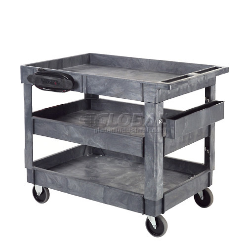 "Best Value Plastic 3 Shelf Tray Service & Utility Cart 5"" Rubber Casters by"