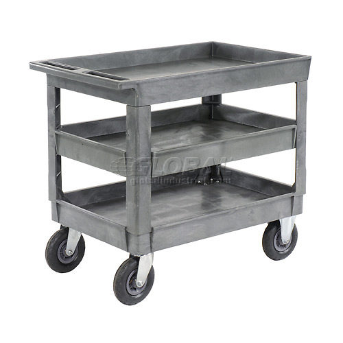 "Best Value Plastic 3 Shelf Tray Service Cart 8"" Pneumatic Caster by"