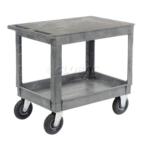 "Best Value Plastic Flat Top Shelf Service & Utility Cart 8"" Pneumatic Caster by"