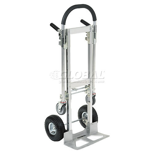 Best Value Junior Aluminum 2-in-1 Convertible Hand Truck with Pneumatic Wheels by