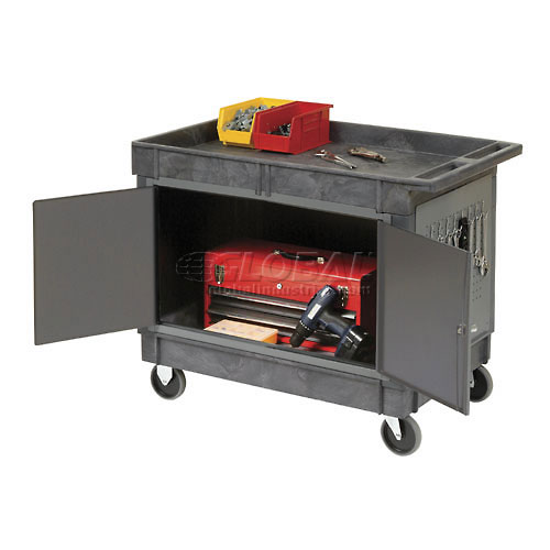 "Mobile Tray Top Shelf Maintenance Cart with 5"" Rubber Casters by"