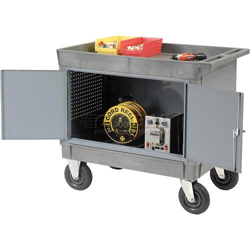 "Mobile Tray Top Shelf Maintenance Cart with 8"" Pneumatic Casters by"