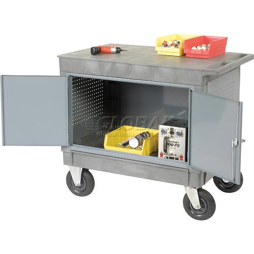 "Mobile Flat Top Shelf Maintenance Cart with 8"" Pneumatic Casters by"