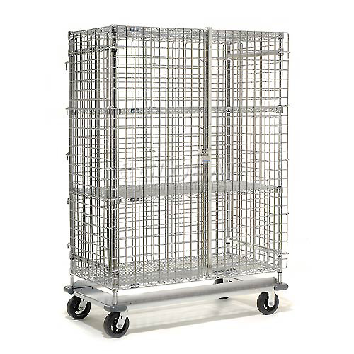 Nexel Wire Security Storage Truck 60x24x70 with Dolly Base 1600 Lb. Cap. by
