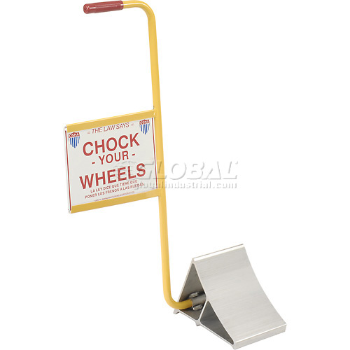 "Vestil Aluminum Wheel Chock EALUM-7-HS 10""L x 7""W x 8""H with Safety Sign by"