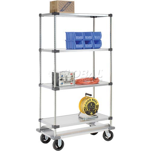 Nexel Galvanized Shelf Truck with Dolly Base 60x24x70 1600 Pound Capacity by