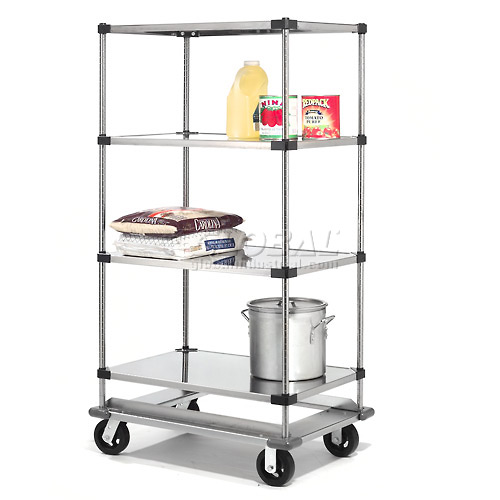 Nexel Stainless Steel Shelf Truck with Dolly Base 48x24x93 1600 Lb. Cap. by
