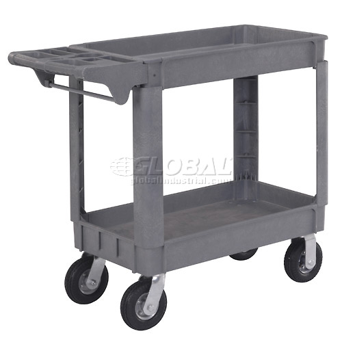 """Small Deluxe 2 Shelf Plastic Utility & Service Cart 6"""" Pneumatic Casters by"""