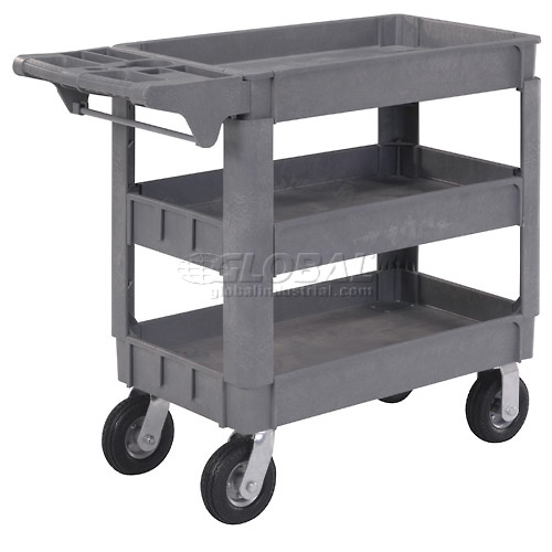 """Small Deluxe 3 Shelf Plastic Utility & Service Cart 6"""" Pneumatic Casters by"""