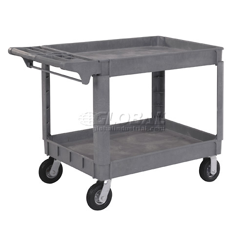 """Large Deluxe 2 Shelf Plastic Utility & Service Cart 6"""" Pneumatic Casters by"""