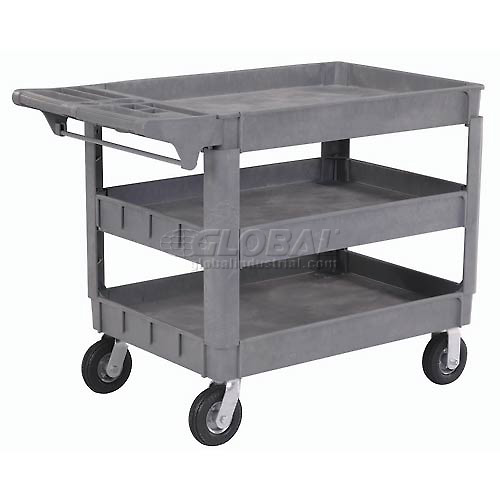 """Large Deluxe 3 Shelf Plastic Utility & Service Cart 6"""" Pneumatic Casters by"""