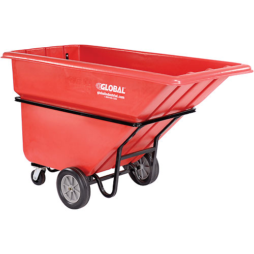 Deluxe Red Heavy Duty Plastic Tilt Truck 1 Cubic Yard and 1250 Lb. Capacity by